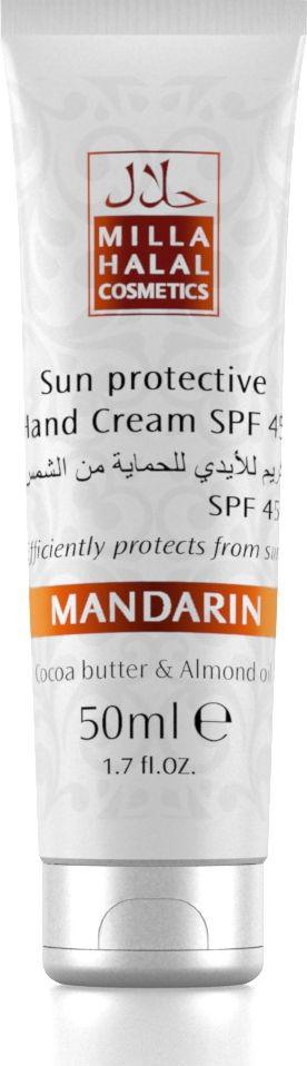 Milla Halal Cosmetics Солнцезащитный крем для рук SPF 45 Mandarin, 50 мл10799Солнцезащитный крем для рук SPF 45 обеспечивает надежную защиту от солнечных ожогов, предотвращая воспалительные процессы. Масла Какао и Миндаля эффективно питают, смягчают и увлажняют кожу рук. Крем содержит витамин Е, который является антиоксидантом и способствует регенерации клеток, устраняет покраснения и отечность кожи. Входящие в состав крема масла Жожоба, Кокоса, Ши и Оливы, также, как и масла Какао и Миндаля, являются натуральными защитными УФ-фильтрами.