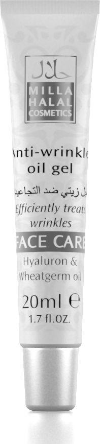 Milla Halal Cosmetics Масло-гель против морщин Face Care, 20 мл10802Специальный антивозрастной продукт для разглаживания возрастных и мимических неровностей и складок кожи лица. Гиалуроновые кислоты образуют тончайшую защитную пленку, усиливая естественную защиту кожи; поддерживают в клетках гидробаланс, не нарушая газообмен в тканях; устраняют сухость и шелушение эпидермиса; ускоряют процесс лечения прыщей и угревой сыпи; возвращают коже эластичность и упругость. Масло зародышей пшеницы улучшает процесс обмена веществ в клетках, уменьшает насыщенность цвета пигментных пятен, помогает облегчить доступ кислорода в кожные покровы, замедляет процессы старения на клеточном уровне.
