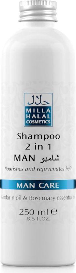 Milla Halal Cosmetics Шампунь 2 в 1 Man Care, 250 мл10807Шампунь быстро и эффективно очищает волосы, стимулирует их рост. Входящее в состав шампуня Апельсиновое масло оздоравливает кожу головы, предотвращает появление перхоти и ускоряет рост волос, а масло Розмарина лекарственного предохраняет волосы от выпадения и также способствует их интенсивному росту.