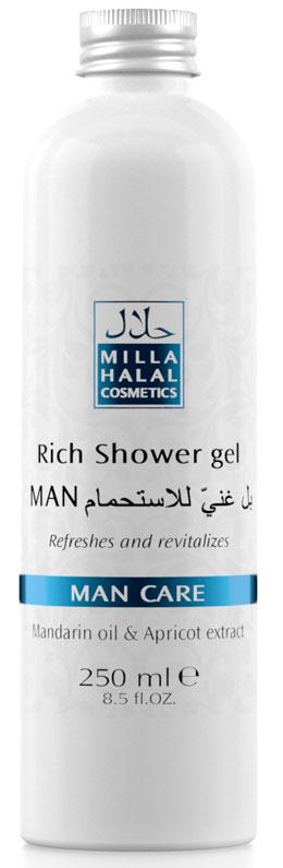 Milla Halal Cosmetics Насыщенный гель для душа Man Care, 250 мл10808Косметическое средство предназначено для очистки кожи, ее насыщении натуральными маслами и экстрактами при принятии душа или ванны. Продукт прекрасно увлажняет и смягчает кожу. Не вызывает раздражений и подходит для частого применения.