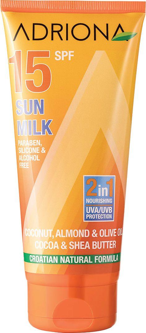 Adriona Солнцезащитное молочко для лица и тела SPF 15 (UVA/UVB), 200 мл11769Без парабенов, силикона и спиртов. Питательное солнцезащитное молочко для лица и тела, обогащенное миндальным, оливковым и кокосовым маслами, а также маслами какао и ши, эффективно защищает кожу от негативного воздействия ультрафиолета. Категория защиты SPF15 – 93,3% (medium / средняя). Срок защитного действия при правильном применении: Ваше индивидуальное безопасное время пребывания на солнце в минутах * индекс солнцезащитного средства.