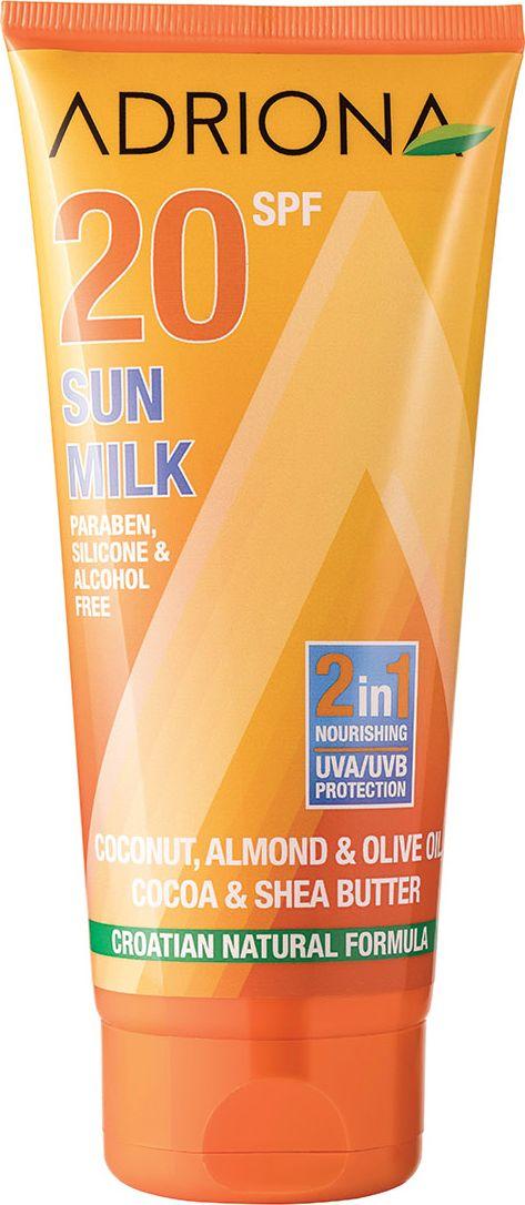 Adriona Солнцезащитное молочко для лица и тела SPF 20 (UVA/UVB), 200 мл11770Без парабенов, силикона и спиртов. Питательное солнцезащитное молочко для лица и тела, обогащенное миндальным, оливковым и кокосовым маслами, а также маслами какао и ши, эффективно защищает кожу от негативного воздействия ультрафиолета. Категория защиты SPF20 – 95% (medium / средняя). Срок защитного действия при правильном применении: Ваше индивидуальное безопасное время пребывания на солнце в минутах * индекс солнцезащитного средства.