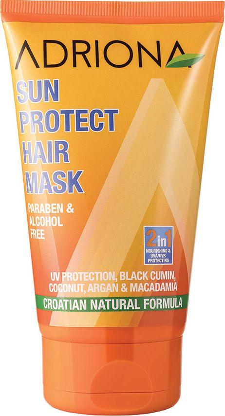 Adriona Солнцезащитная маска для волос, 150 мл11778Без парабенов и спиртов. Несмываемая маска с УФ-защитой, обогащенная маслами макадамии, кокоса, черного тмина и арганы, защищает и питает волосы во время принятия солнечных ванн. Сохраняет цвет волос.