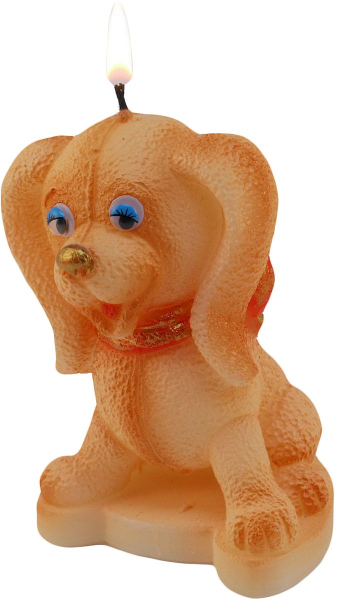 Свеча декоративная Sima-land Плюшевый щенок, цвет: бежевый, высота 7,5 см свеча декоративная sima land кокер спаниель цвет бронзовый высота 10 см