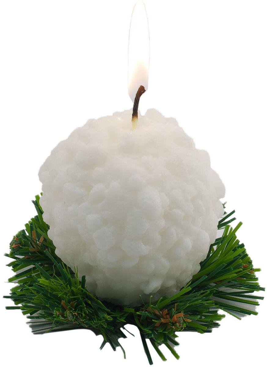 Свеча декоративная Sima-land Снежок на елке, цвет: белый, высота 6,5 см новогодняя декоративная фигурка sima land елка достатка и процветания высота 12 5 см