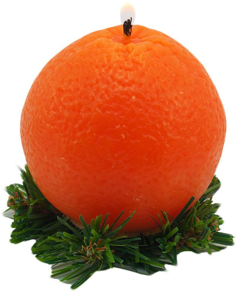 Свеча декоративная Sima-land Новогодний апельсин, цвет: оранжевый, высота 7 см кармашки на стену sima land люблю школу цвет красный желтый коричневый 5 шт
