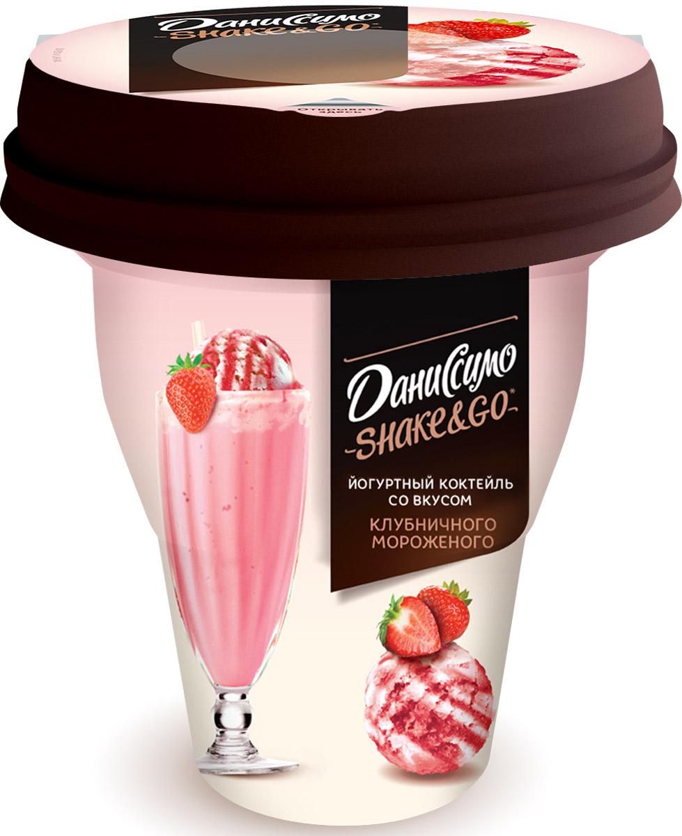 Даниссимо Йогуртный коктейль Клубничное мороженое 5,2%, 260 г коктейль смешарики молочный ванильное мороженое 2 5
