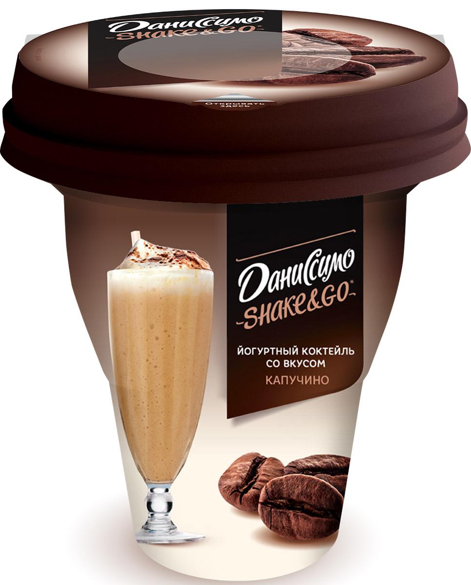 Даниссимо Йогуртный коктейль Капучино 5,2%, 260 г122044Коктейль йогуртный Даниссимо Shake&Go Капучино 5.2% - это особенное кисломолочное лакомство в оригинальной упаковке! Легкий коктейль из питьевого йогурта на закваске, с нежным вкусом и приятным кофейным ароматом, расфасован в стильный стаканчик.