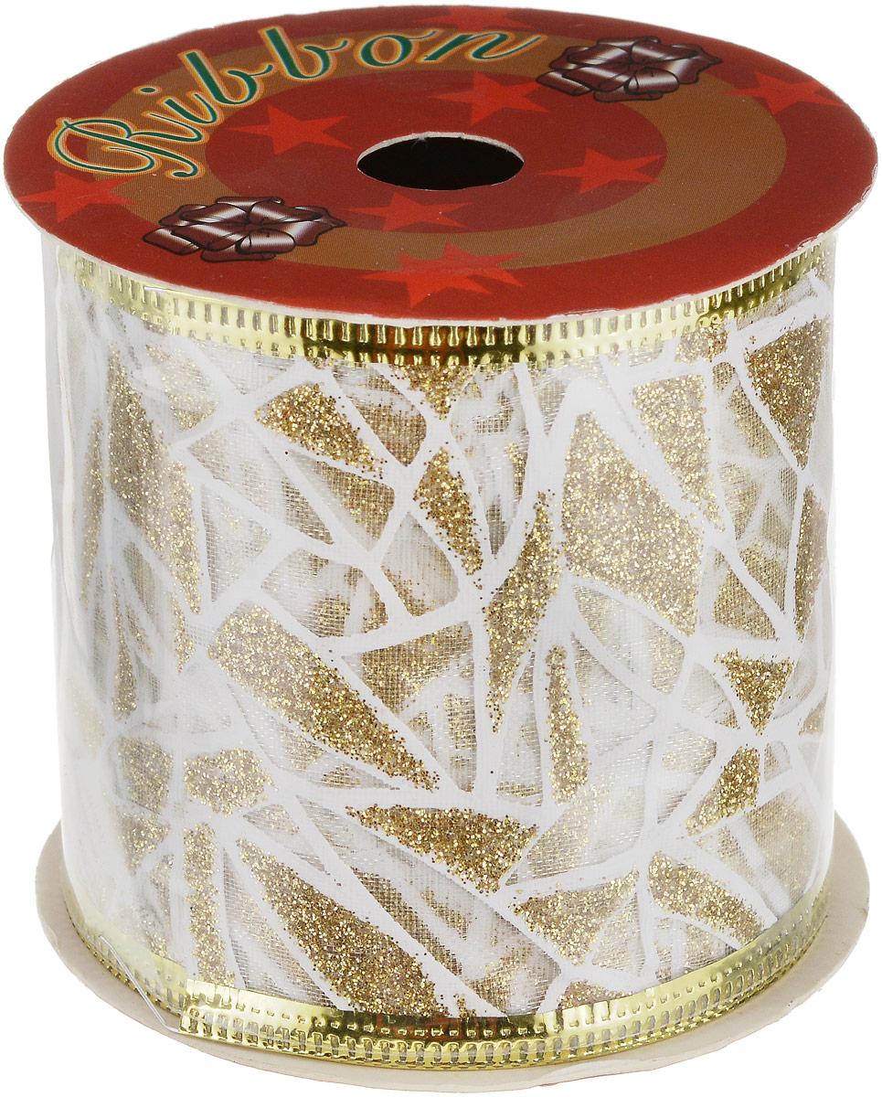 Лента новогодняя Magic Time Золотая с белыми штрихами, 6,3 х 270 см35405Новогодняя декоративная лента Magic Time Золотая с белыми штрихами на картонной катушке выполнена из полиэстера и декорирована блестками. Лента украсит интерьер вашего дома или офиса в преддверии Нового года. Оригинальный дизайн и красочность исполнения создадут праздничное настроение.Новогодние украшения всегда несут в себе волшебство и красоту праздника. Создайте в своем доме атмосферу тепла, веселья и радости, украшая его всей семьей. Длина ленты: 270 см.