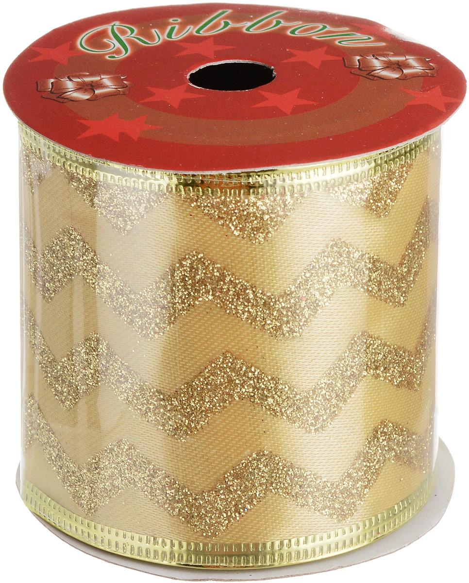 Лента новогодняя Magic Time Зигзаг, 6,3 х 270 см76267Новогодняя декоративная лента Magic Time Зигзаг на картонной катушке выполнена из полиэстера, с нетканой кромкой и декорирована блестками. Лента украсит интерьер вашего дома или офиса в преддверии Нового года. Оригинальный дизайн и красочность исполнения создадут праздничное настроение.Новогодние украшения всегда несут в себе волшебство и красоту праздника. Создайте в своем доме атмосферу тепла, веселья и радости, украшая его всей семьей. Длина ленты: 270 см.