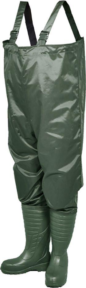 Полукомбинезон рыбацкий мужской Nordman Expert, цвет: оливковый. ПЕ 5 ПК РН. Размер 43/4495483-529-45Полукомбинезон рыбацкий мужской Nordman Expert выполнен из легкой и эластичной нейлоновой ткани. Верх крепится к базовому сапогу из ЭВА на современном итальянском оборудовании при помощи сварки током высокой частоты. Это гарантирует абсолютную водонепроницаемость. Все швы имеют двойную защиту специальной лентой.