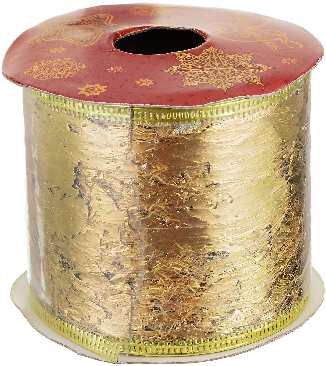 Лента новогодняя Magic Time Фольга, 6,3 х 270 см42797Новогодняя декоративная лента Magic Time Фольга выполнена из полиэстера. В края ленты вставлена проволока, благодаря чему ее легко фиксировать. Лента предназначена для оформления подарочных коробок, пакетов. Кроме того, декоративная лента с успехом применяется для художественного оформления витрин, праздничного оформления помещений, изготовления искусственных цветов. Декоративная лента украсит интерьер вашего дома к праздникам.Ширина ленты: 6,3 см.