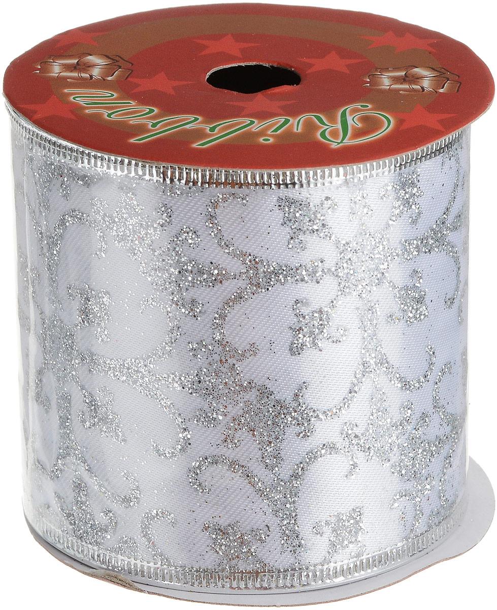 Лента новогодняя Magic Time Серебряные кружева, 6,3 х 270 см76269Новогодняя лента Серебряные кружева из полиэстера, с нетканой кромкой, шириной 6,3см, длиной 270см, 6,3х270см, артикул 76269