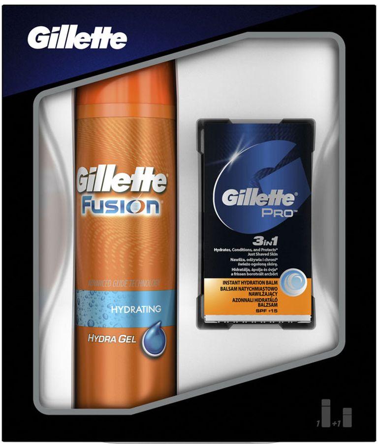 Gillette Fusion Гель Для Бритья, 200 мл Подарочный Набор + Бальзам 3в1, 50 мл l occitane набор мужская коллекция гель для ванн и душа 75 мл бальзам после бритья 30 мл мыло 50 г