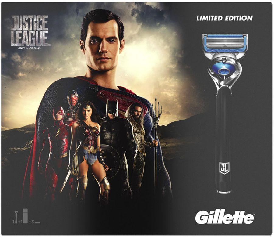 Подарочный Набор Gillette Fusion Proshield Chill станок с 1 сменной кассетой + 2 сменные кассеты + гель для бритья 2в1, 170 млGIL-81628141Идеальный подарок для вашего героя. Подарочный набор Gillette Fusion ProShield Chill Лига справедливости Ограниченная серия можно приобрести только в течение ограниченного периода времени. В набор входят мужская бритва Gillette Fusion ProShield Chill, 2 сменные кассеты и мужской гель для бритья для чувствительной кожи ProGlide Sensitive 170 мл. Бритва оснащена смазывающими полосками с обеих сторон от лезвий, а также чрезвычайно тонкими лезвиями Gillette (первые 4 из них — такие же, как в ProGlide), 5 высокоточными лезвиями, технологией FlexBall и точным триммером на обратной стороне кассеты. Гель для бритья 2-в-1 для чувствительной кожи обеспечивает прекрасное скольжение бритвы за счет специальной увлажняющей формулы, которая смягчает волоски и защищает кожу, делая бритье невероятно гладким. Gillette — лучше для супергероя нет. Подарочный набор Gillette Fusion ProShield Chill Лига справедливости ограниченной серии идеально подойдет для вашего героя.В набор входят бритва Gillette ProShield Chill, 2 сменные кассеты, гель для бритья Для чувствительной кожиБритва оснащена смазывающими полосками, охлаждающей технологией, 5 высокоточными лезвиями, технологией FlexBall и точным триммеромГель для бритья придает чувствительной коже гладкость, мягкость и свежестьЧрезвычайно тонкие лезвия Gillette (первые 4 из них — такие же, как в ProGlide)