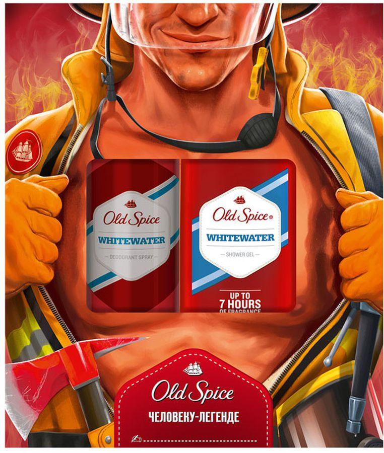 гель д душа old spice timber 250мл Old Spice Whitewater подарочный набор для мужчин: аэрозольный дезодорант, 125 мл + гель для душа, 250 мл