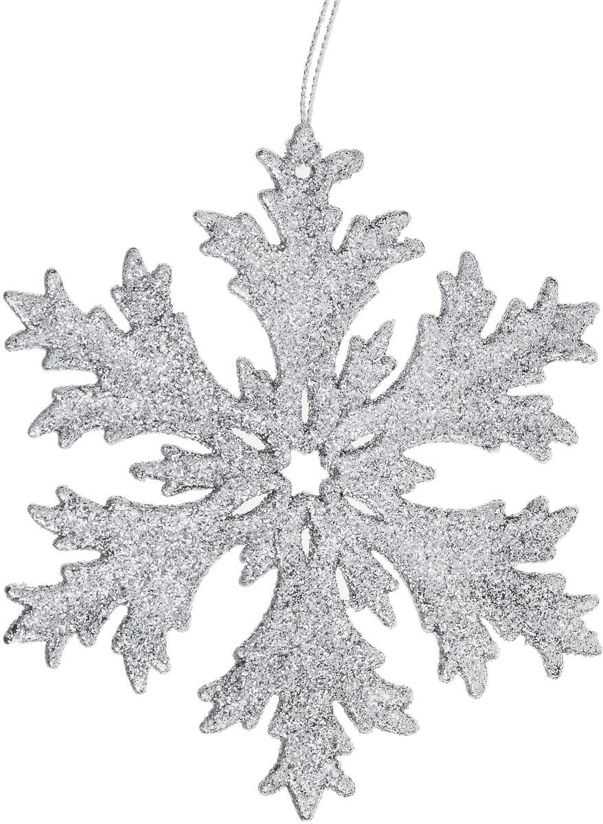 Украшение новогоднее подвесное Magic Time Снежинка, цвет: серебристый, 12 х 12 см. 7508875088Новогоднее украшение Magic Time Снежинка отлично подойдет для декорации вашего дома и новогодней ели. Украшение выполнено из высококачественного пластика и оформлено блестками. Изделие оснащено текстильной петелькой, с помощью которой его можно повесить в любом понравившемся вам месте. Елочная игрушка - символ Нового года. Она несет в себе волшебство и красоту праздника. Создайте в своем доме атмосферу веселья и радости, украшая всей семьей новогоднюю елку нарядными игрушками, которые будут из года в год накапливать теплоту воспоминаний.