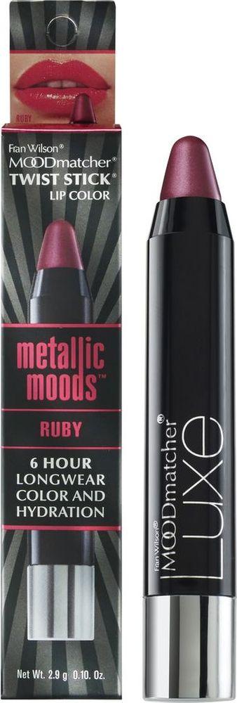 Moodmatcher Металлизированная помада-стик MetallicMoods Ruby Twist Stick, тон Рубин, 2,9 г01903000Тренд года - металлизированный эффект на губах! В исполнении помады-стика он получается безупречным, т. к. сохраняется на губах до 6 часов! Используй макияж губ в стиле метал в своих ярких образах - повседневных и праздничных. Многогранное сияние цвета оттенит улыбку, интенсивность оттенка добавит выразительности, металлизированный финиш поможет заявить о себе! Помада мгновенно и точно наносится, текстура с ухаживающим составом обеспечивает комфорт и здоровье кожи губ.