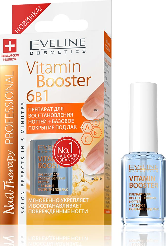 Eveline Препарат для восст. ногтей + базовое покрытие Vitamin Booster 6в1, Nail Therapy Prof., 12 мл