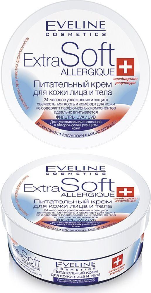 """Eveline Allergique-питательный крем для кожи лица и тела для чувствительнй и склонной к аллергическим реакциям кожи Extra soft,200 млC59651bioHyaluron Plus Complex благодаря соединению гиалуроновой кислоты и Urea максимально увлажняет, разглаживает и защищает кожу от пересушивания. Оливковое масло усиливает естественный гидролипилный барьер, глубоко восстанавливает и регенерирует кожу. Протеины сои и экстракт шелка придают коже упругость и эластичность. Д-пантенол и aллантоин смягчают и стимулируют регенерацию клеток. Витамин E, называемый """"витамин молодости"""", нейтрализует свободные радикалы и приостанавливает процессы старения кожи. Способ применения: ежедневно утром и вечером наносить на кожу лица и тела. Благодаря легкой консистенции, крем равномерно наносится и быстро впитывается."""