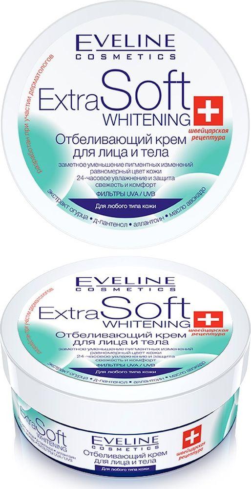 Eveline Отбеливающий крем для лица и тела Extra soft whitening, 200 млC200SEKDW2Формула, обогащенная экстрактом огурца, осветляет пигментные пятна, вызванные возрастными изменениями и вредным воздействием солнечных лучей. Комплексное воздействие активных компонентов основательно увлажняет, разглаживает и освежает кожу. Экстракт огурца содержит витамин С и органические кислоты; осветляет, разглаживает и тонизирует кожу. Масло авокадо подобно натуральным липидам предохраняет кожу от пересушивания, потери влаги и упругости, питает и основательно регенерирует. Д-пантенол и аллантоин нормализуют процесс восстановления клеток кожи, оказывают успокаивающее и противовоспалительное действие, интенсивно увлажняют. Применение: наносить на чистую кожу легкими массирующими движениями. Рекомендуется для всех типов кожи, включая чувствительную и обезвоженную.