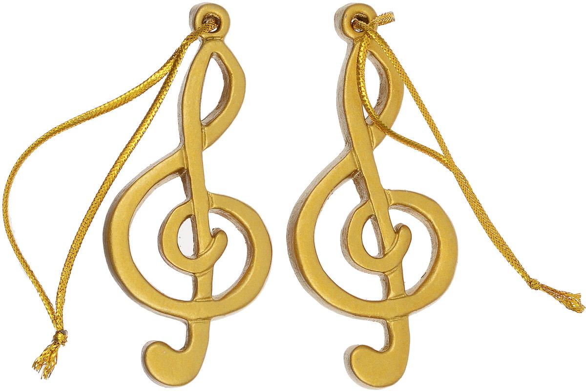 Украшение новогоднее подвесное Magic Time Скрипичный ключ, 2 шт скрипичный ключ из серебра