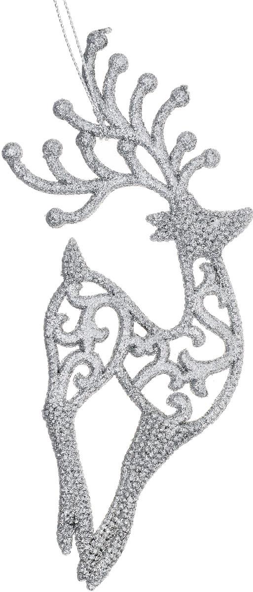 Украшение новогоднее подвесное Magic Time Серебряный олень38743Новогоднее подвесноеукрашение Magic Time Серебряный олень отлично подойдет для декорации новогодней ели. Игрушка изготовлена из полипропилена иоформлена блестками.Создайте в своем доме атмосферу веселья и радости, украшая всей семьей новогоднюю елку нарядными игрушками, которые будут из года в годнакапливать теплоту воспоминаний.Размеры украшения: 9 х 0,6 х 18 см