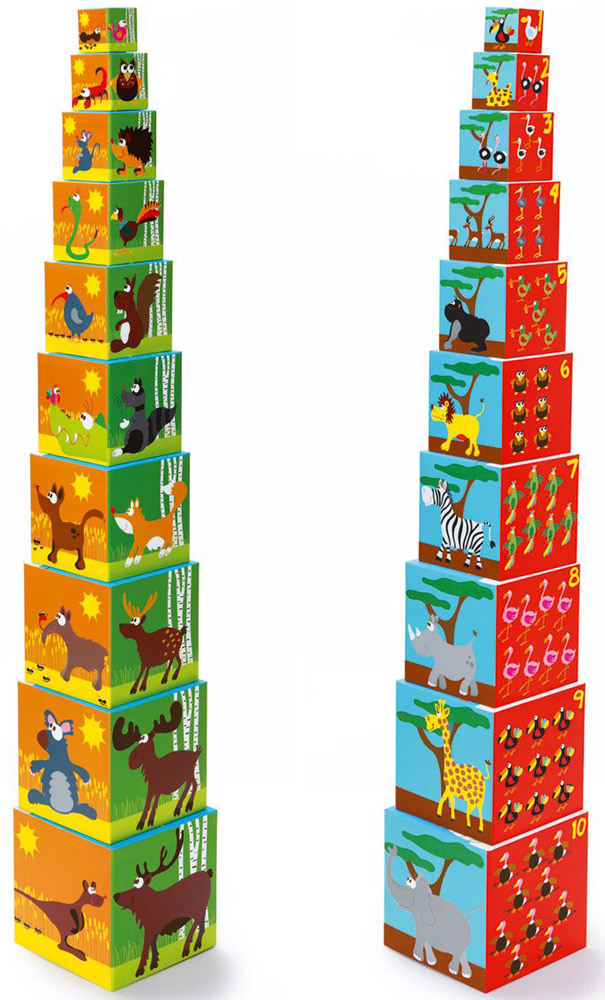 Scratch Кубики Stacking Tower Животные развивающие деревянные игрушки кубики животные