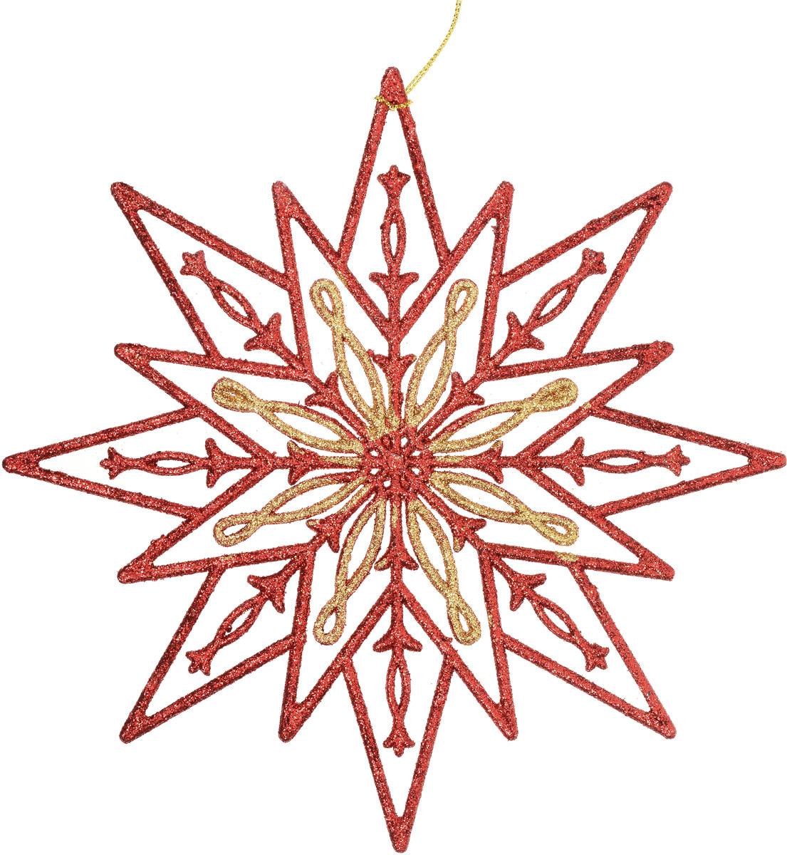 Украшение новогоднее подвесное Magic Time Снежинка золотая с красным новогоднее подвесное украшение снежинка цвет золотистый 25104