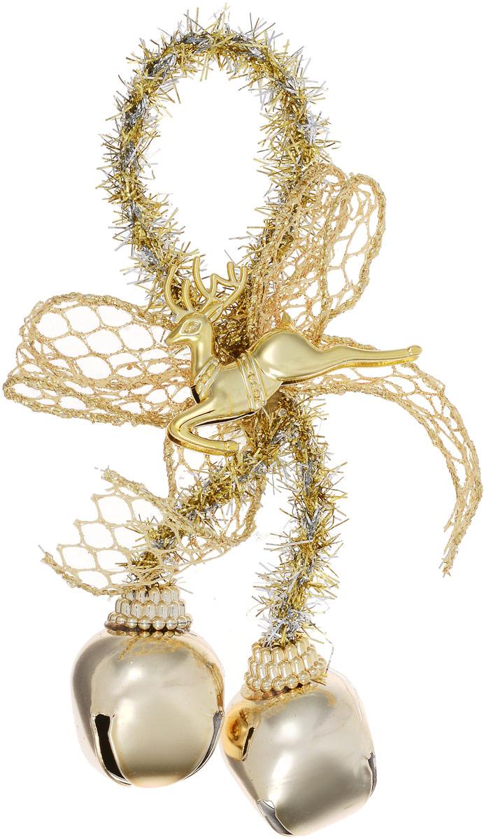 Украшение новогоднее подвесное Magic Time Золотые бубенцы с золотым оленем трынцы брынцы бубенцы