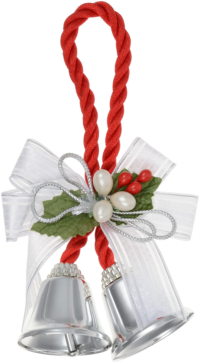 """Новогоднее подвесное  украшение Magic Time """"Серебряные колокольчики с белым бантиком"""" отлично подойдет для декорации новогодней ели.  Игрушка изготовлена из металла и полиэстера.  Украшение выполнено в виде колокольчиков, оформленных разными декоративными элементами.   Создайте в своем доме атмосферу веселья и радости, украшая всей семьей новогоднюю елку нарядными игрушками, которые будут из года в год  накапливать теплоту воспоминаний.  Размеры украшения: 10,2 х 4 х 4 см"""