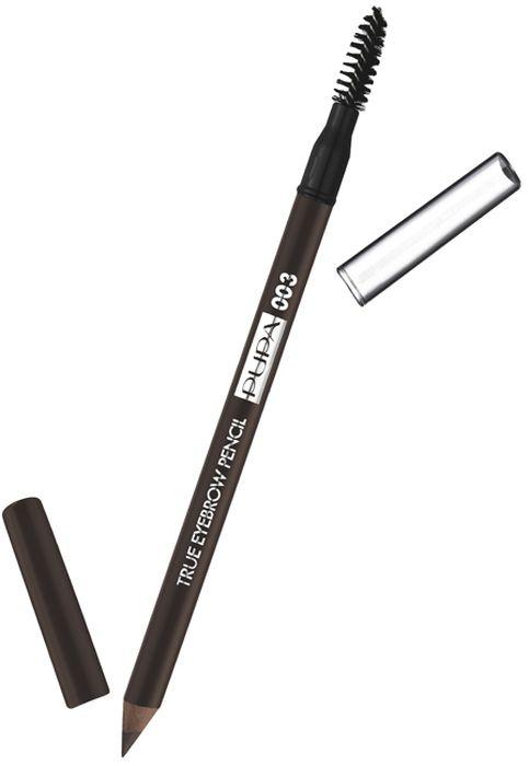 Pupa Карандаш для бровей True Eyebrow Pensil № 003, оттенок Темно-коричневый, 1 г240208A003Высокая концентрация пигментов гарантирует насыщенный невероятный цвет с первого жеста. Формула обогащена высоким содержанием растительных антиоксидантных ингредиентов. Идеально для заполнения пустот, для макияжа бровей от натурального до насыщенного. Насыщенный цвет с первого жеста. Корпус и крышечка в цвет грифеля. Практичный аппликатор, чтобы причесать брови.