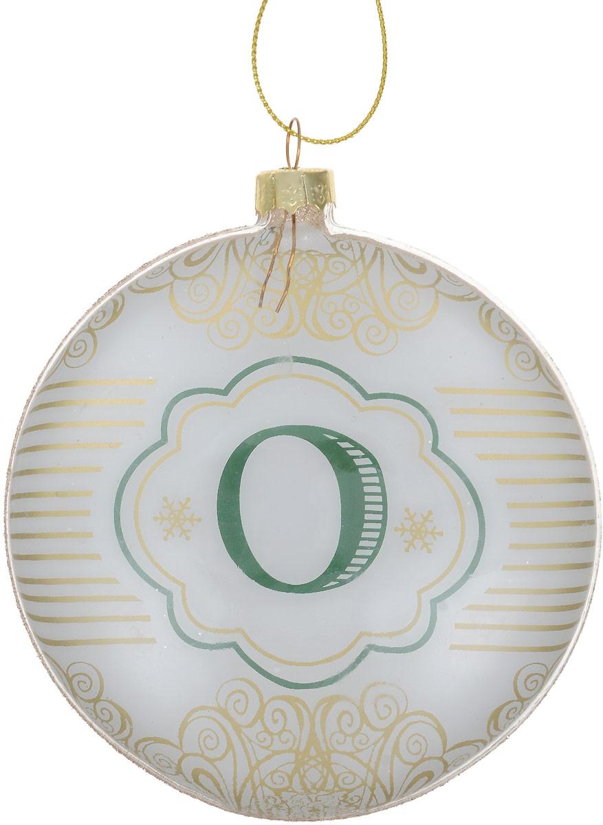 Украшение новогоднее подвесное Magic Time Буква, диаметр 10 см. 7583475834Новогоднее украшение Magic Time Буква, выполненное из стекла, оснащено специальной текстильной петелькой для подвешивания. Такое украшение отлично подойдет для декорации вашего дома и новогодней ели. Внутри изделие декорировано оригинальным принтом и изображением в виде буквы О. Внешняя сторона - оформлена блестками. Елочная игрушка - символ Нового года. Она несет в себе волшебство и красоту праздника. Создайте в своем доме атмосферу веселья и радости, украшая всей семьей новогоднюю елку нарядными игрушками, которые будут из года в год накапливать теплоту воспоминаний.Размер изделия: 10 х 10 х 2 см.
