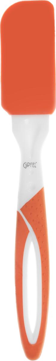 Лопатка кулинарная Gipfel Octava, цвет: оранжевый, белый, длина 22,5 см0276_оранжевый, белыйКулинарная лопатка Gipfel Octava поможет в приготовлении ваших любимых блюд. Рабочая поверхность, выполненная из силикона, обладает высокой эластичностью, прочностью и износостойкостью, выдерживает высокие температуры. Ручка из пластика с силиконовым покрытием удобно лежит в руке. Отверстие на ручке позволяет подвесить изделие в любое удобное для вас место. Длина: 22,5 см. Размер рабочей поверхности: 3,5 х 7 см.