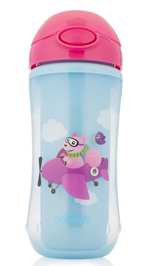 Dr.Brown's Поильник-термочашка с трубочкой цвет розовый голубой 300 мл pigeon чашка поильник mag mag с трубочкой зеленый с 8 мес 200 мл