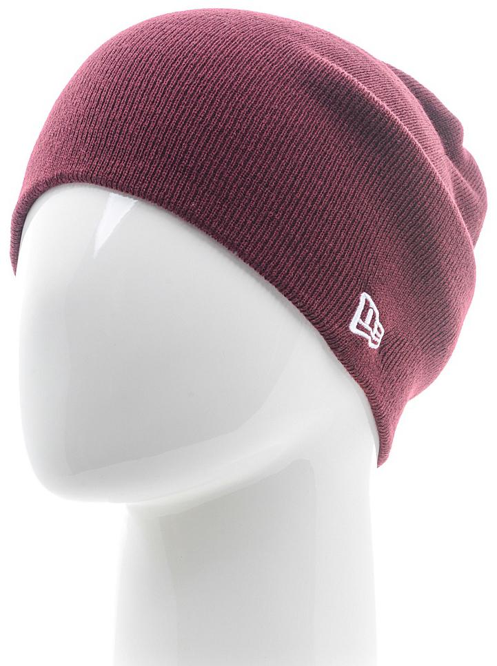 Шапка New Era Basic Long Knit, цвет: бордовый. 11449645-MAR. Размер универсальный11449645-MARВязаная удлиненная шапка New Era выполнена из 100% акрила. Модель оформлена вышивкой с изображением логотипа бренда. Такая шапка подойдет и для мужчин, и для женщин.