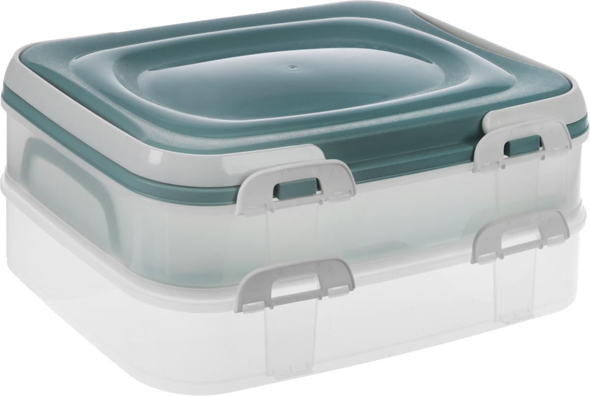 Набор контейнеров Axentia Бокс-сет, цвет: серый, прозрачный, 2 шт набор пищевых контейнеров solaris цвет синий 3 шт