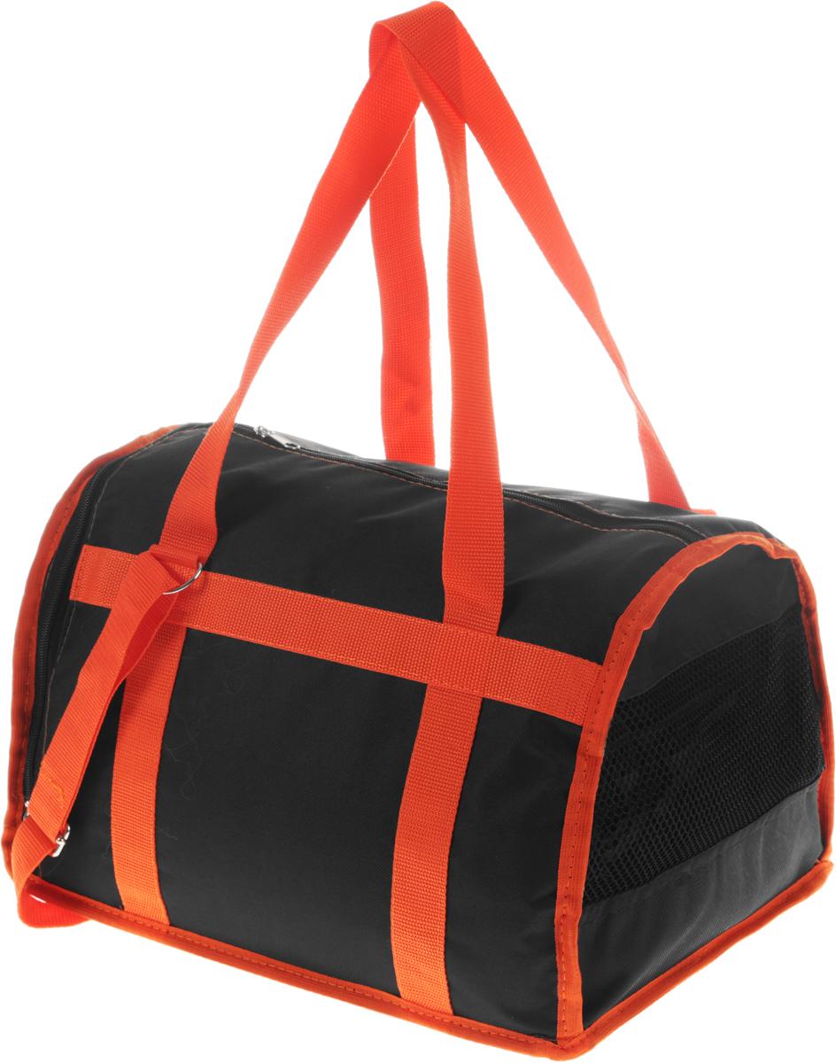 Сумка-переноска для животных Каскад  Спорт , цвет: черный, оранжевый, 37 х 27 х 25 см - Переноски, товары для транспортировки