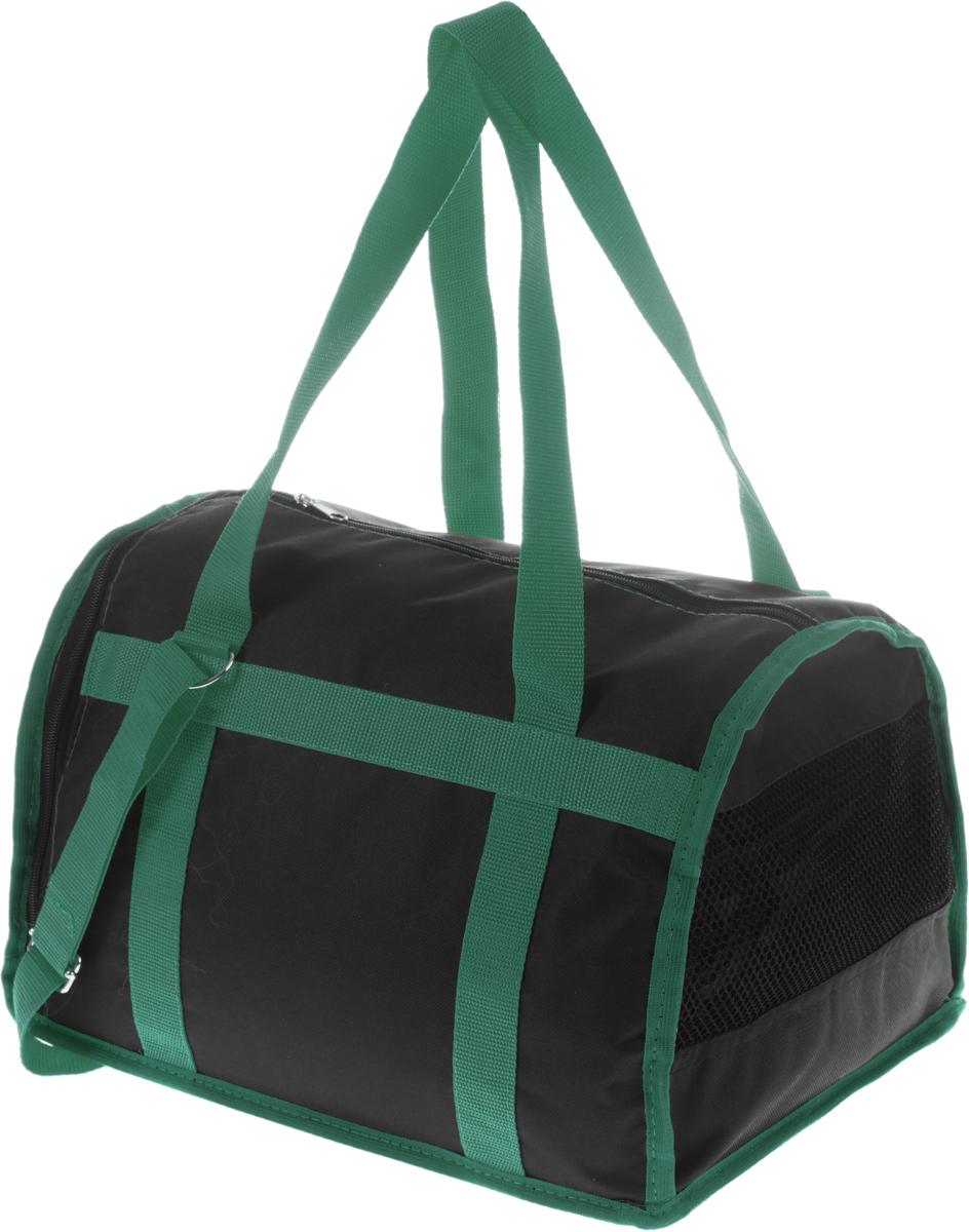 Сумка-переноска для животных Каскад Спорт, цвет: черный, зеленый, 37 х 27 х 25 см26000101_черный, зеленыйТекстильная сумка-переноска Каскад Спорт для собакмелких пород и кошек имеет твердое основание, которое непозволит животному провисать. С одной стороны переноскиспециальная сетчатая вставка, чтобы ваш любимец могдышать. С другой стороны сумка закрывается на застежку-молнию. В верхней части изделия есть застежка-молния, открывающая доступ в отделение для необходимых вам вещей.Для удобной переноски у сумки имеются две ручки ирегулируемая лямка.При необходимости сумку можно сложить. Сумка-переноска Каскад Спорт понравится вашимдомашним любимцам.