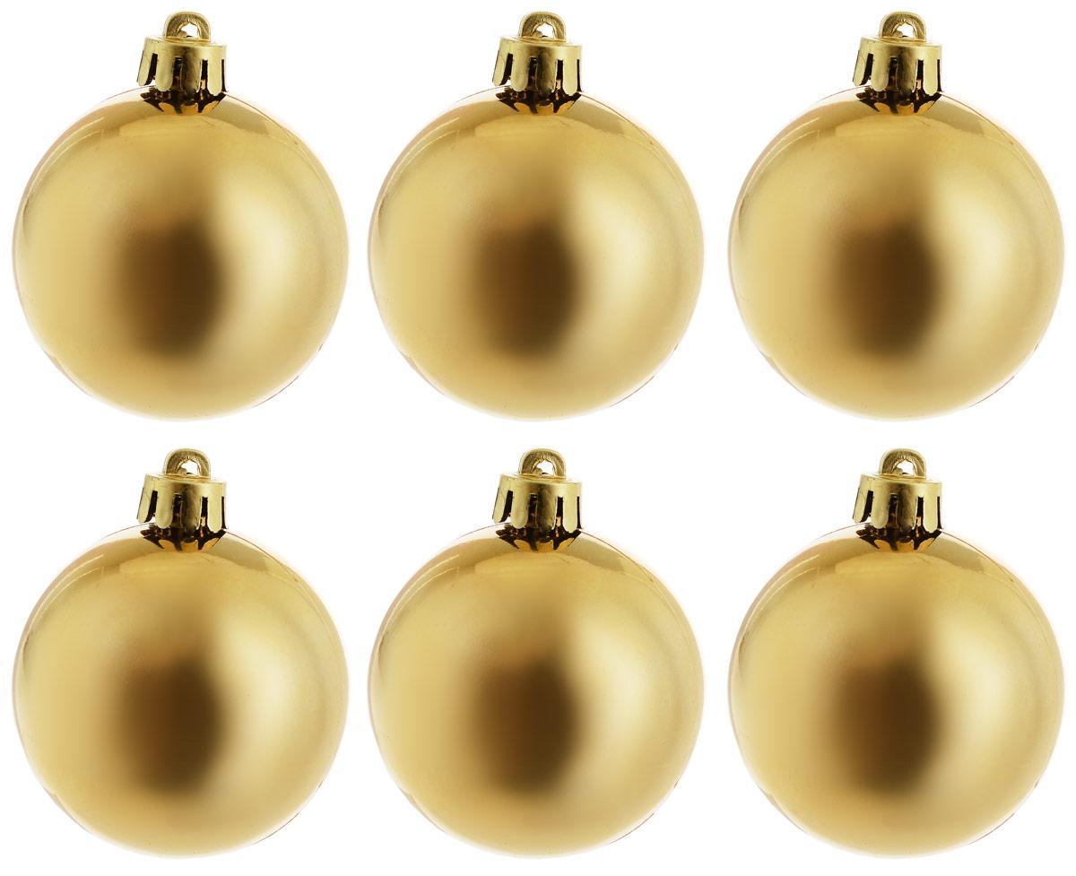 Украшение новогоднее подвесное Magic Time Шар. Глянец золотой, 6 шт новогоднее подвесное украшение собака ф21 1716