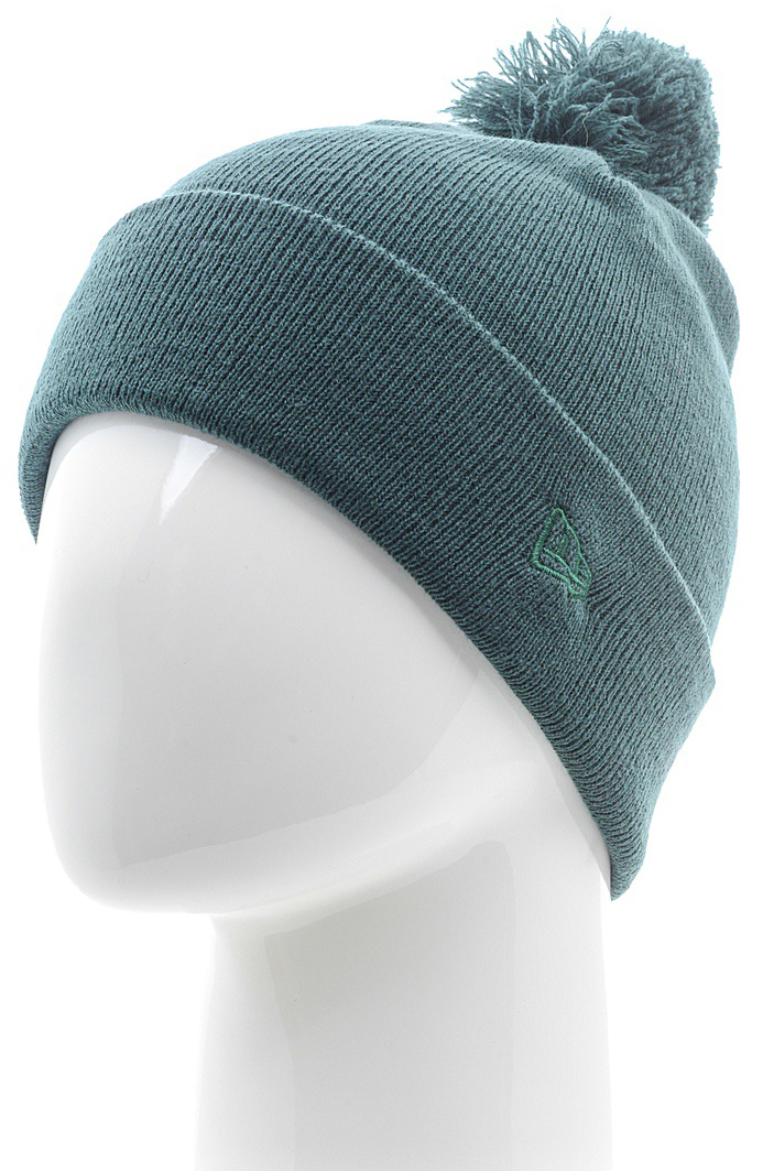 Шапка New Era Cuff Bobble, цвет: зеленый. 11448347-GRN. Размер универсальный11448347-GRNТональная шапка с отворотом и помпоном оформлена вышитым логотипом сбоку New Era. Комфортная посадка благодаря тянущейся ткани.