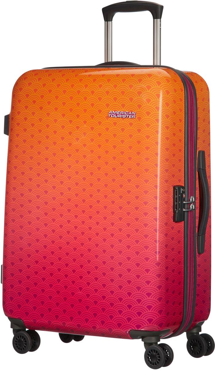 Чемодан American Tourister, цвет: оранжевый, 94,5 л. 03G-0600503G-06005Чемодан большого размера American Tourister. Вместительный чемодан обладает всеми достоинствами хорошего багажа: качественный, удобный, практичный. Внутри предусмотрены ремни для фиксации вещей, сетчатый разделитель и дополнительный карман на молнии. Дополнительные карманы для быстрого доступа предусмотрены и на лицевой стороне чемодана. Обратите внимание на четыре маневренных колеса, они вращаются на 360 градусов и делают транспортировку чемодана легкой и непринужденной!Размер: 53 x 76 х 29 см.Объем: 94,5 л.Как выбрать чемодан. Статья OZON Гид