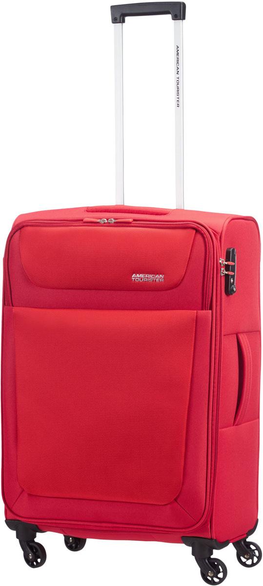 Чемодан American Tourister, на колесах, цвет: красный, 61 л. 96A-0090396A-00903Чемодан среднего размера American изготовлен из прочного полиэстера – плотной и износостойкой ткани. Средний чемодан обладает всеми достоинствами хорошего багажа: качественный, удобный, практичный. Внутри предусмотрены ремни для фиксации вещей, сетчатый разделитель и дополнительный карман на молнии. Дополнительные карманы для быстрого доступа предусмотрены и на лицевой стороне чемодана. Обратите внимание на четыре маневренных колеса, они вращаются на 360 градусов и делают транспортировку чемодана легкой и непринужденной!Размер: 43 x 66 x 26 см.Вес: 3,4 кг. Объем: 61 л.Как выбрать чемодан. Статья OZON Гид