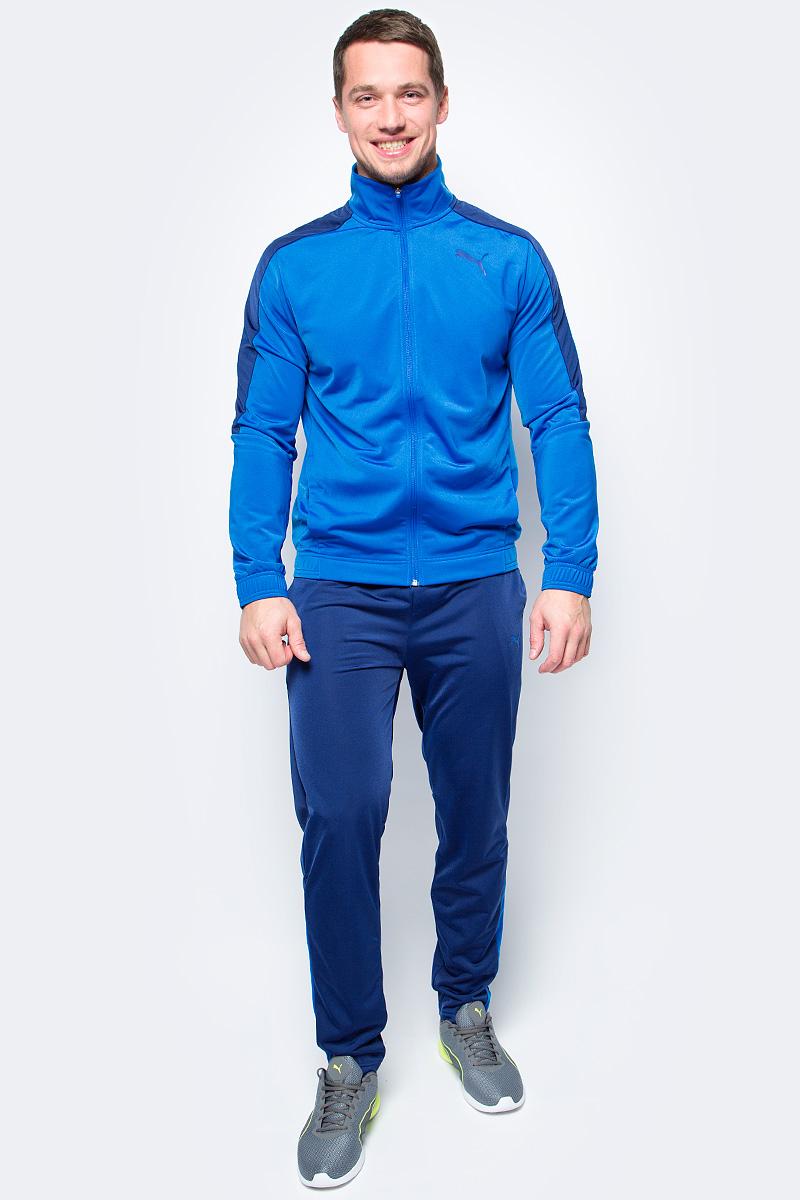 Спортивный костюм мужской Puma Techstripe Tricot Suit op, цвет: голубой, синий. 59263616. Размер L (48/50)59263616Спортивный костюм от Puma состоит из толстовки и брюк.Толстовка декорирована логотипом Puma, нанесенным методом пигментной печати. Функциональный фирменный покрой рукавов обеспечивает полную свободу движений и легкость сгибания и разгибания руки в локте. Боковые карманы вместительны и удобны. Пояс и манжеты посажены на подкладку из эластичного материала. Изделие имеет удобную стандартную посадку.Брюки декорированы логотипом Puma, нанесенным методом пигментной печати. Пояс из эластичного материала снабжен затягивающимся шнуром для лучшей посадки по фигуре. Изделие имеет удобную стандартную посадку, но при этом штанины с манжетами заужены, что в сочетании со вставками контрастного цвета придает модели оригинальный облик.