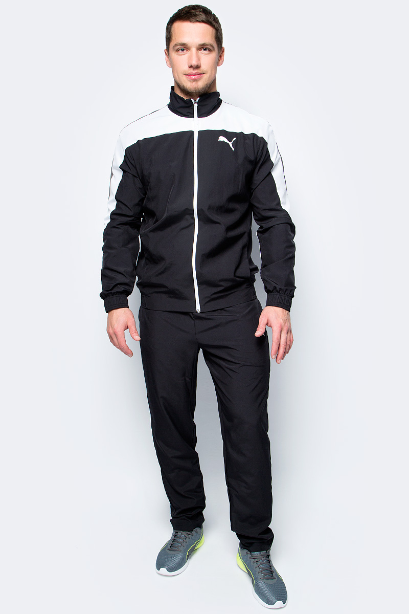 Спортивный костюм мужской Puma Evostripe Woven Suit op, цвет: черный. 59264401. Размер XL (50/52) new big size 40 40cm blocks diy baseplate 50 50 dots diy small bricks building blocks base plate green grey blue