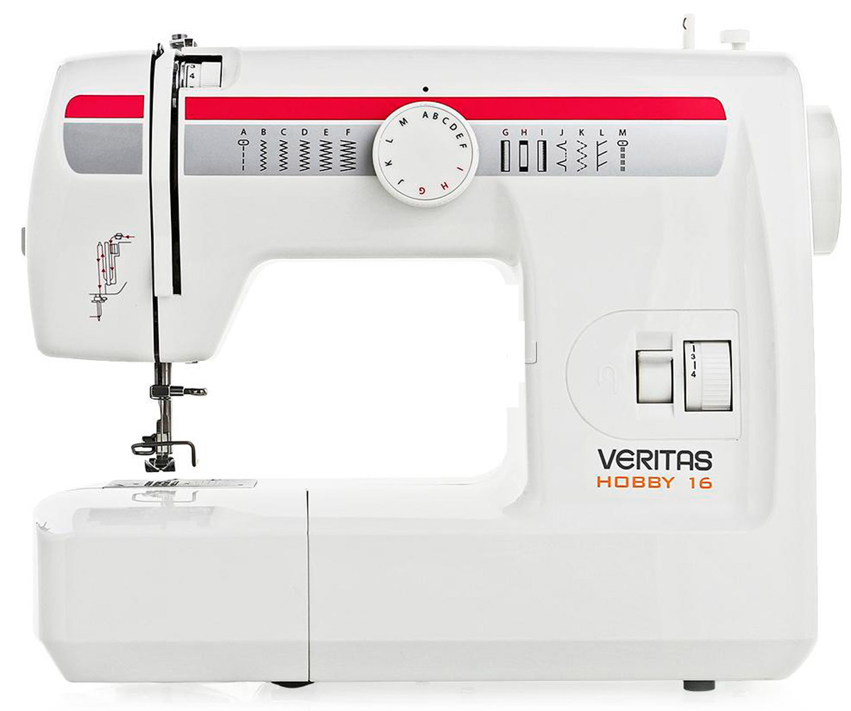 Veritas Hobby 16 швейная машинаHOBBY 16Электромеханическая швейная машина Veritas Hobby 16 с качающимся челноком выполняет 13 швейных опций, петлю полуавтомат, для не очень сложных швейных работ. Машинка легкоуправляема. Вертикальный качающийся челнок, он же классический, с простой и привычной конструкцией, более удобной, чем горизонтальный, но требует регулярной смазки. Регулировочный винт челнока ответственен за натяжение нижней нити, поэтому машинку вы можете сами настроить на работу с различными видами ткани – от тончайшей, до средней и даже очень толстой. Швейная машинка имеет съемный рукавную платформу, что очень удобно при шитье рукавов и горловины.Швейная машина Veritas Hobby 16 идеально подходит для начинающих.