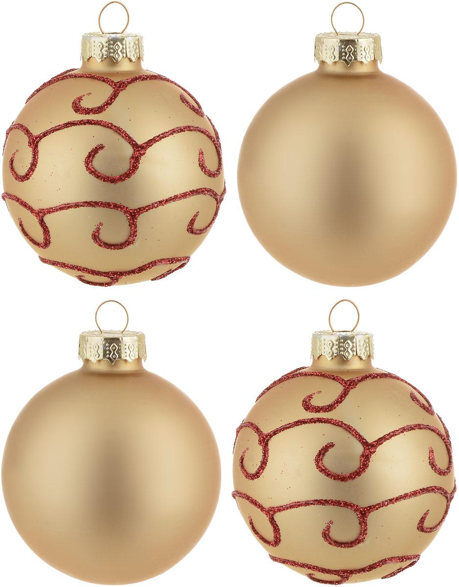 """Новогоднее подвесное украшение Magic Time """"Шар""""  изготовлено из качественного стекла. В наборе два однотонных  шара и два шара с блестящим рисунком. Изделия дополнены  удобной металлической """"шляпкой"""" с петлей для подвешивания.  Елочная игрушка - символ Нового года. Она несет в себе  волшебство и красоту праздника. Создайте в своем доме  атмосферу веселья и радости, украшая всей семьей  новогоднюю елку нарядными игрушками, которые будут из года  в год накапливать теплоту воспоминаний.   В комплекте: 4 шара.  Диаметр шара: 6 см."""
