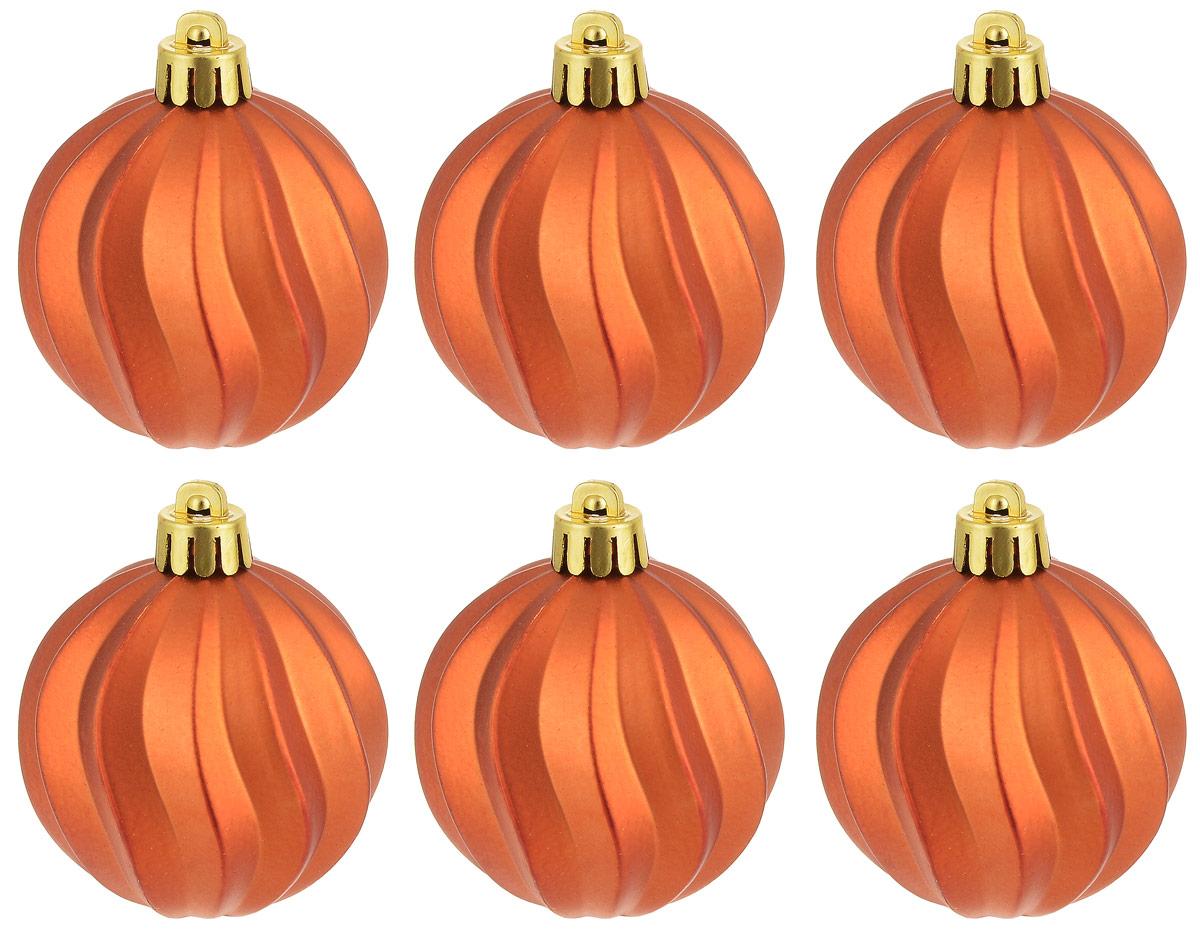 """Новогоднее подвесное украшение Magic Time """"Шар. Волны оранжевый"""" отлично подойдет для декорации новогодней ели. В комплект входят шесть шаров,  изготовленных из полистирола.  Создайте в своем доме атмосферу веселья и радости, украшая всей семьей новогоднюю елку нарядными игрушками, которые будут из года в год  накапливать теплоту воспоминаний.  Диаметр шара: 5,5 см"""