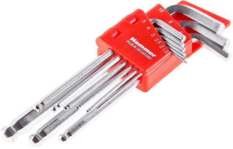 Набор шестигранных ключей Hammer Flex 601-030,1.5; 2; 2,5; 3; 4;5; 6; 8; 10 мм, CRV 9 шт400837Набор шестигранных ключей Hammer Flex 601-030 9 шт.: 1.5;2;2,5;3;4;5;6;8;10 мм, CRV