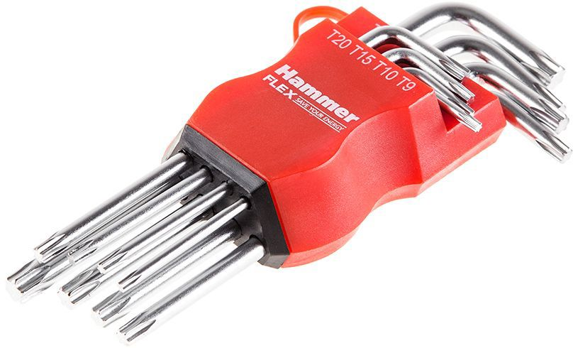 Набор торцевых ключей Hammer Flex 601-031 TORX, T9, T10, T15, T20, T25, T27, T30, T40, CRV, 8 шт hammer flex lzk650l